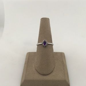 Jewelry - 14K White Gold Amethyst and Diamond Ring
